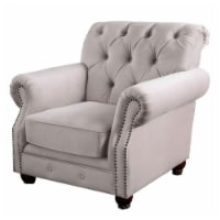 Button Tufted Fabric Upholstered Chair with Rolled Back and Arms, Beige - 1