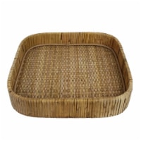 Tray with Interwoven Design and Square Shape, Small, Brown - 1