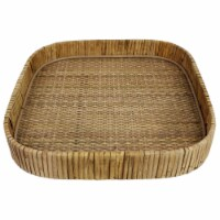 Tray with Interwoven Design and Square Shape, Large, Brown - 1