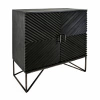 40 Inches Storage Cabinet with 2 Doors and Corrugated Design, Black - 1