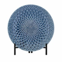 18.75 Inches Round Charger with Floral Design and Metal Stand, Blue - 1