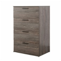 Chest with 4 Drawers and Grain Details, Brown - 1