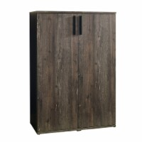 Wooden Shoe Cabinet with 2 Doors and Grains, Brown - 1