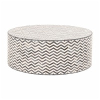 40 Inch Chevron Pattern Resin Coffee Table, White and Gray - 1