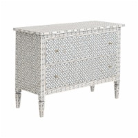 31 Inch Wooden Chest with 2 Drawers, White and Gray - 1
