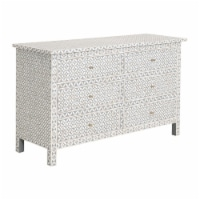 56 Inch Wooden Dresser with 6 Drawers, White and Gray - 1