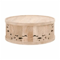40 Inch Round Wooden Coffee Table with Carved Details, Brown - 1