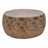 40 Inch Metal Coffee Table with Hexagonal Pattern, Bronze - 1