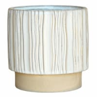 Ceramic Cachepot with Vertical Stripes Pattern, Set of 4, White - 1