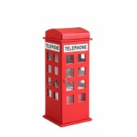 Telephone Booth Jewelry Box with 2 Drawers, Red - 1