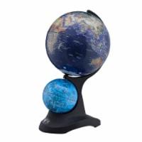 Dual Globe Accent Decor with Inbuilt LED, Blue and Black - 1