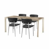 Ceramic Top 5 Piece Dining Set with Curved Panel Back Chairs, Black - 1