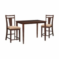 3 Piece Transitional Stye Wooden Pub Set, Cherry Brown - 1
