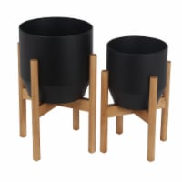 Metal Planter with Round Wooden Legs, Set of 2, Black - 1