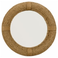 Mirror with Round Woven Rope Frame, Brown and Silver - 1
