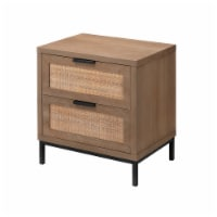 Side Table with MDF Frame and 2 Rattan Weaving Front Drawers, Brown - 1