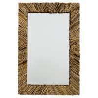 Wall Mirror with Irregular Arranged Wooden Twigs Frame, Brown - 1
