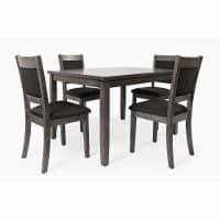 5 Piece Dining Set with Padded Chairs, Gray - 1