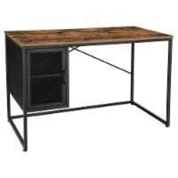 Computer Desk with 1 Door and Adjustable Shelf, Brown and Black - 1