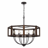 Chandelier with Hexagonal Shape Open Wooden Frame and Hanging Chain, Brown, Saltoro Sherpi - 1 unit