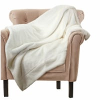 Throw Blanket with Faux Fur Embellishment, White, Saltoro Sherpi - 1 unit