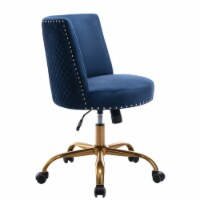 Office Chair with Velvet Seat and Adjustable Height, Navy Blue, Saltoro Sherpi - 1 unit