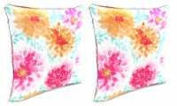 Jordan Manufacturing Gardenia Bloom Outdoor Accessory Throw Pillows with Welt - 2 Pack - 18 in