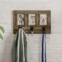 Wall Picture Collage with 3 Hanging Hooks- Wall Mounted Photo Frame Decor with Rustic Wood - 1 unit
