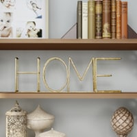 Metal Cutout Free-Standing Table Top Sign-3D HOME Word Art Accent Decor Gold Metallic Finish
