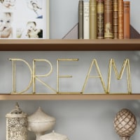 Metal Cutout Free-Standing Table Top Sign-3D DREAM Word Art Accent D�cor Gold Metallic Finish - 1 unit