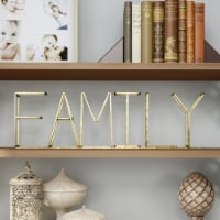Metal Cutout Free-Standing Table Top Sign-3D FAMILY Word Art Accent D�cor Gold Metallic