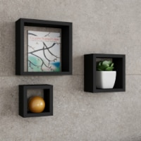 Black 3 Pack Floating Shelves- Cube Wall Shelf Set with Hidden Brackets, Display Decor,