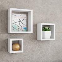 Set of 3 White Floating Shelves- Cube Wall Shelf Set with Hidden Brackets Display Decor,