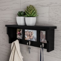 Black Wall Shelf and Picture Collage Ledge and 3 Hanging Hooks- Photo Frame Decor Shelving - 1 unit