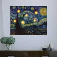 Lighted Wall Art Canvas With Timer Van Gogh Starry Night Printed Decor with LED And Color 16