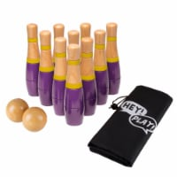 Lawn Bowling Skittle Ball Outdoor Backyard Lawn Family Game 10 Pins Purple - 1 unit