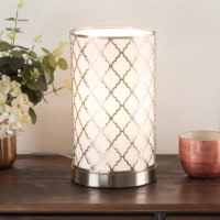 Table Light 11 Inch Metal Quatrefoil Pattern Fabric Shade LED Bulb Included