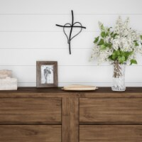 Metal Wall Cross with Decorative Gold Heart Design- Rustic Handcrafted Religious Wall Art for - 1 unit