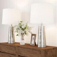 Table Lamps- Set of 2 Hammered Flared Drum Shaped Lights, Bulbs, Shades Included-Modern