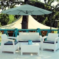 Pure Garden 50-LG1047 Patio Umbrella, Cantilever Hanging Outdoor Shade, Dusty Green - 10 ft.