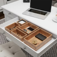 Drawer Organizer 5 Compartment Modular Wooden Bamboo Space Saver Tray Storage - 1 unit