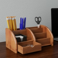 5 Compartment Bamboo Desk Organizer - Wooden Office Supply Storage Accessory with Drawers and - 1 unit