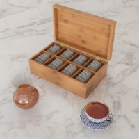 Bamboo Tea Box Storage Organizer- 8 Compartment Chest Standing or Flat Tea Bags