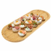 Bamboo Serving Tray – Wooden Oval Dinnerware Cheese and Bread Board or Appetizer Platter 16.5 - 1 unit