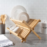 Dish Drying Rack – Folding Natural Bamboo Kitchen Essentials Counter Top Drainer and - 1 unit
