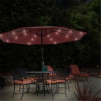 Pure Garden 50-LG1174 Patio Umbrella-Deck Shade with Solar Powered LED Lights - Crimson Red -