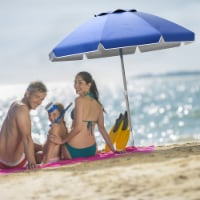 Blue Sun and Shade Beach Umbrella Portable Carry Case 7 Ft High 6 Ft Diameter 360 Degree Tilt - 1 unit