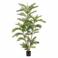 Artificial Golden Cane Palm Tree-72 Inch Faux Plant in Pot with Natural Feel Leaves- - 1 unit