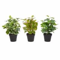 Faux Foliage  Assorted Lifelike Plastic 13.5  Greenery Arrangement with Decorative Vases - 1 unit