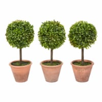Faux Boxwood 3 Matching Realistic 11.5 Inch Tall Topiary Arrangements in Decorative Pots (Set - 1 unit